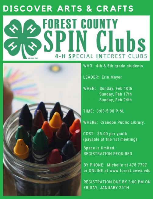 Discover Arts and Crafts SPIN club Registration